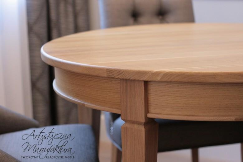Stół okrągły dębowy rozkładany 1