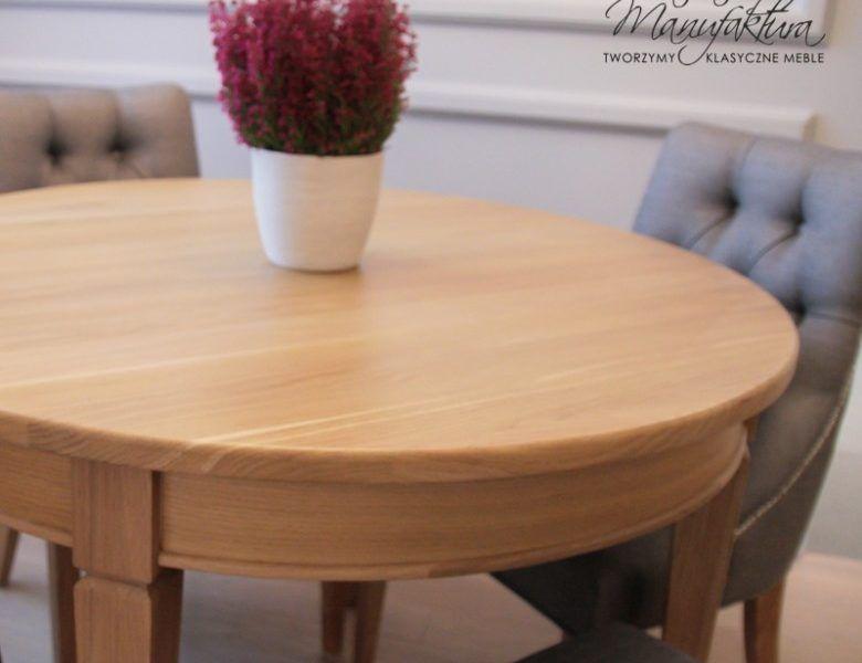 Stół okrągły dębowy rozkładany 3